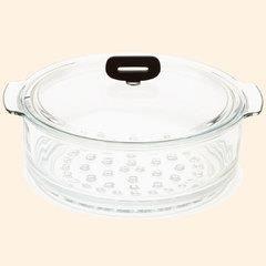 Cuit-vapeur en verre avec couvercle pour faitou…