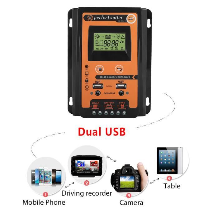 Contrôleur de charge solaire 12V - 24V 30A MPPT Régulateur de batterie de panneau solaire Double affichage LCD USB HB043 -ALA # 40