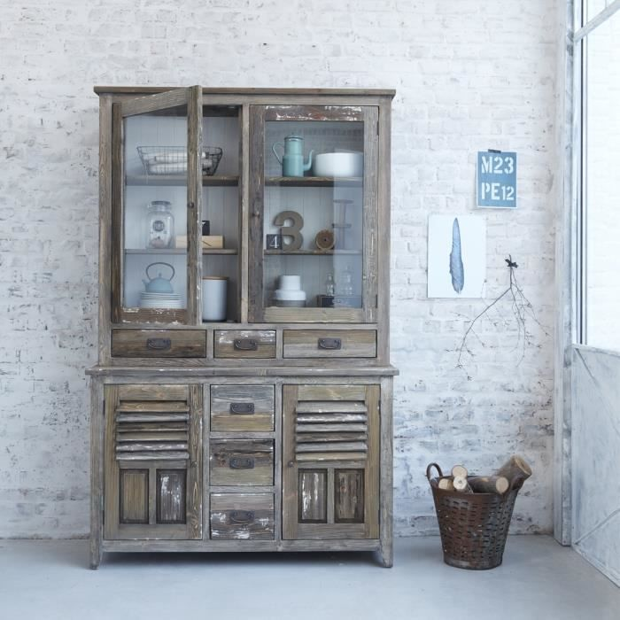 Vaisselier en bois de pin recyclé 6 tiroirs 4 portes BDBD
