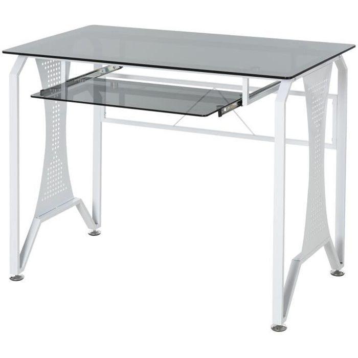 Table Informatique Bureau pour Ordinateur avec Clavier Coulissant Plateau Verre Trempé 100 x 54,5 x 75 cm Gris et Blanc 100x54x75cm