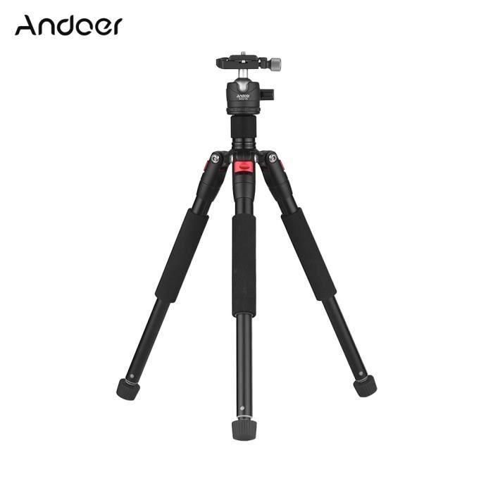 Andoer Trépied Extensible Portable à 5 Sections+Mini-rotule Centre Gravité Faible Fixation à vis 1/4- pour Appareils-photo Canon