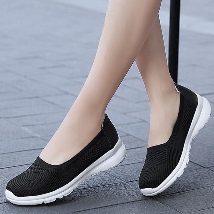 Femmes Maille Solide Antidérapant Pompes Chaussures Baskets Décontractées Étudiant de Course