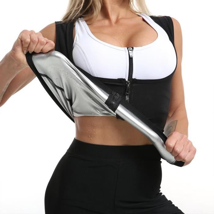 Sudation Femme Corset Minceur Ventre Plat Sport Gilet Fitness T Shirt Sauna Débardeur d'entraînement avec Fermeture éclair - Noir