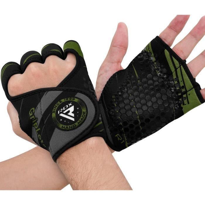 RDX Fitness Alternative aux gants de musculation Perfect Grips Gym Haltérophilie Gymnastique Palm Grip, armée verte, S-M