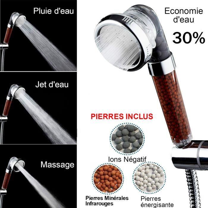 Novhill Pommeau De Douche système Filtration, aide anti chute cheveux purifie économie L`eau ,Spa adoucit peau NV59