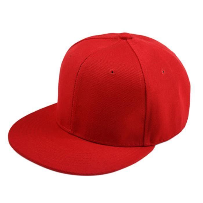 Casquette de Base-ball a bords plats simple du style de Hip-Hop Casquette Ajustable de Garcon de la couleur rouge