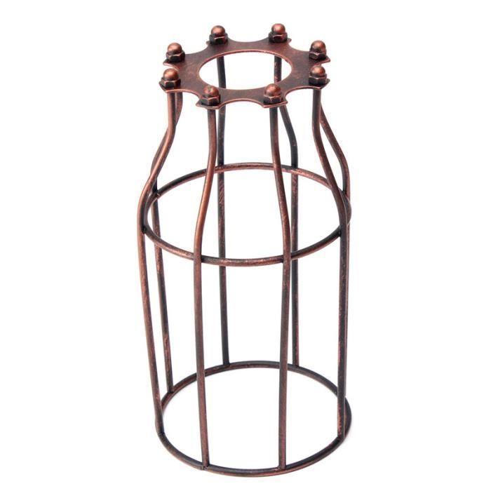 TEMPSA FR Vintage Industriel Abat-jour Cage Fer Pour Suspension Plafonnier 80X100X200mm Rouge antique