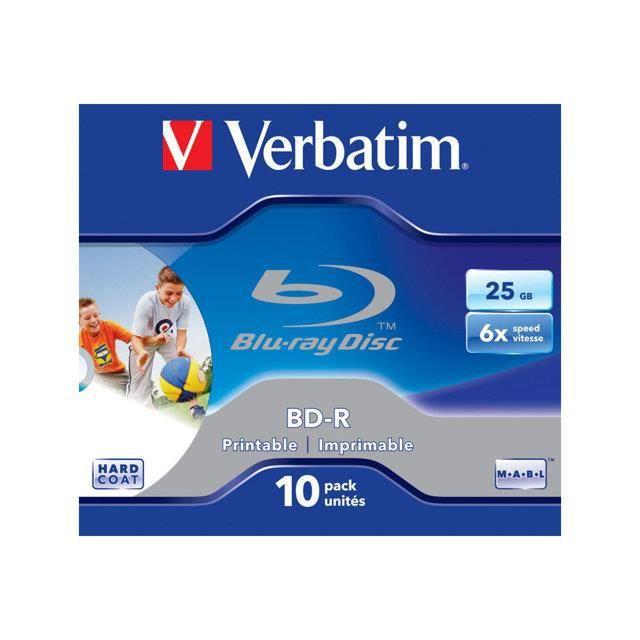 VERBATIM - 10 x BD-R - 25 Go 6x - boîtier CD
