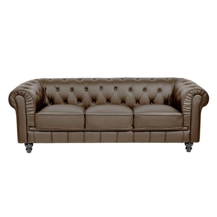 Canap 3 places marron chesterfield achat vente canap sofa divan c - Canape chesterfield 3 places ...