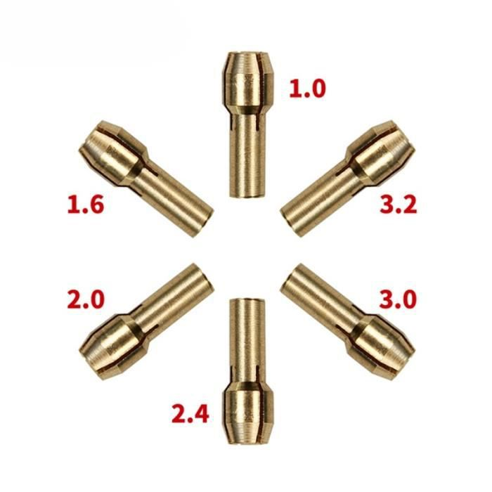 PACK DE MACHINES OUTIL 1.0/1.6//2.0/2.4/3.0/3.2mm 6 pièces Mini perceuse