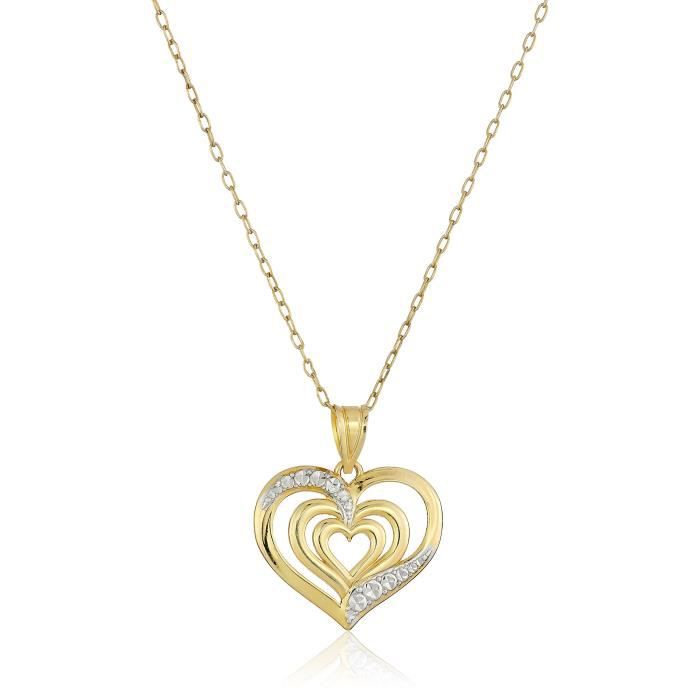 Jewel Panda 14K Yellow Ster plaqué or. Argent poli Diamond-Cut Collier Triple-Coeur