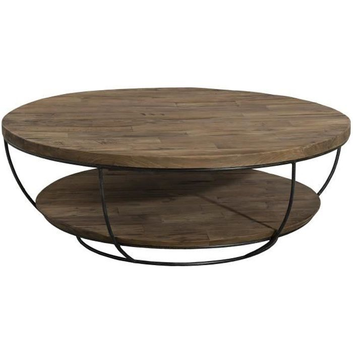 Table basse ronde bois et metal achat vente table for Table ronde bois metal