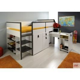 lit combin enfant blanc gris megeve achat vente lit combine lit combin enfant blanc gris. Black Bedroom Furniture Sets. Home Design Ideas