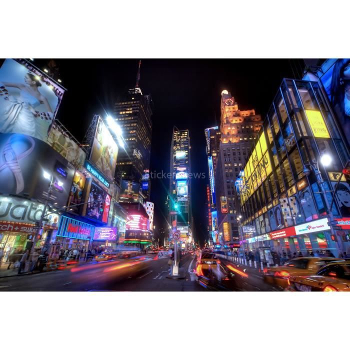 Stickers autocollant ou affiche poster new york la nuit cv for Autocollant mural new york