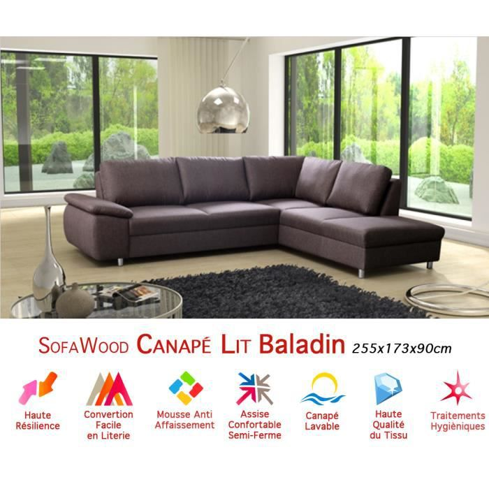 Canap D 39 Angle Convertible Sofawood Baladin 255x173x90cm