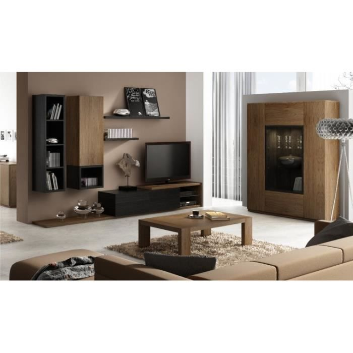 ensemble meuble tv mural notte avec table basse chene teinte noire achat vente meuble tv. Black Bedroom Furniture Sets. Home Design Ideas