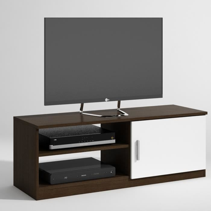 meuble tv emily avec 1 porte coloris weng blanc l1200 x h395 x p403 mm achat vente meuble. Black Bedroom Furniture Sets. Home Design Ideas