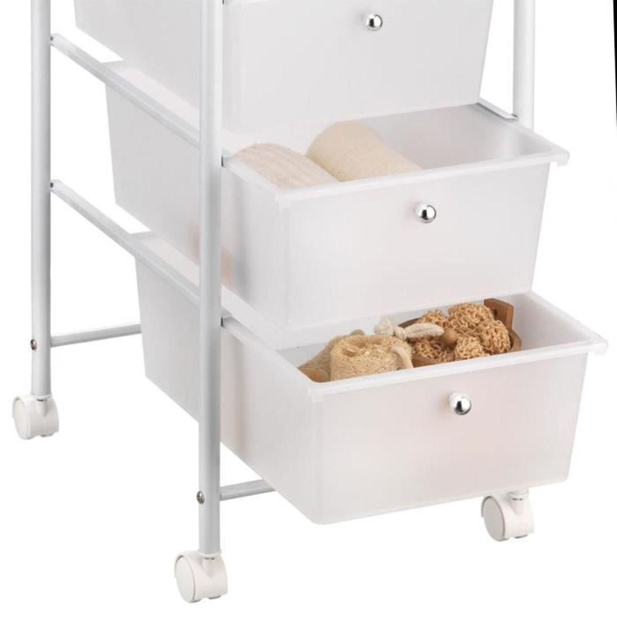 Caisson Pour Seche Linge caisson sur roulettes gina chariot 5 tiroirs en plastique blanc transparent  et 1 tablette, meuble de rangement en métal laqué blanc
