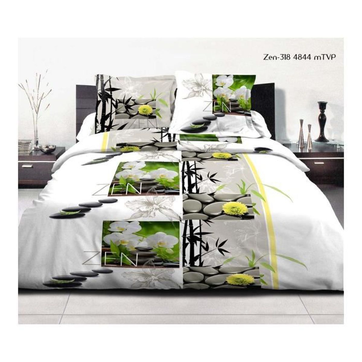 parure 3 pieces housse de couette zen multicolore achat vente parure de drap cdiscount. Black Bedroom Furniture Sets. Home Design Ideas