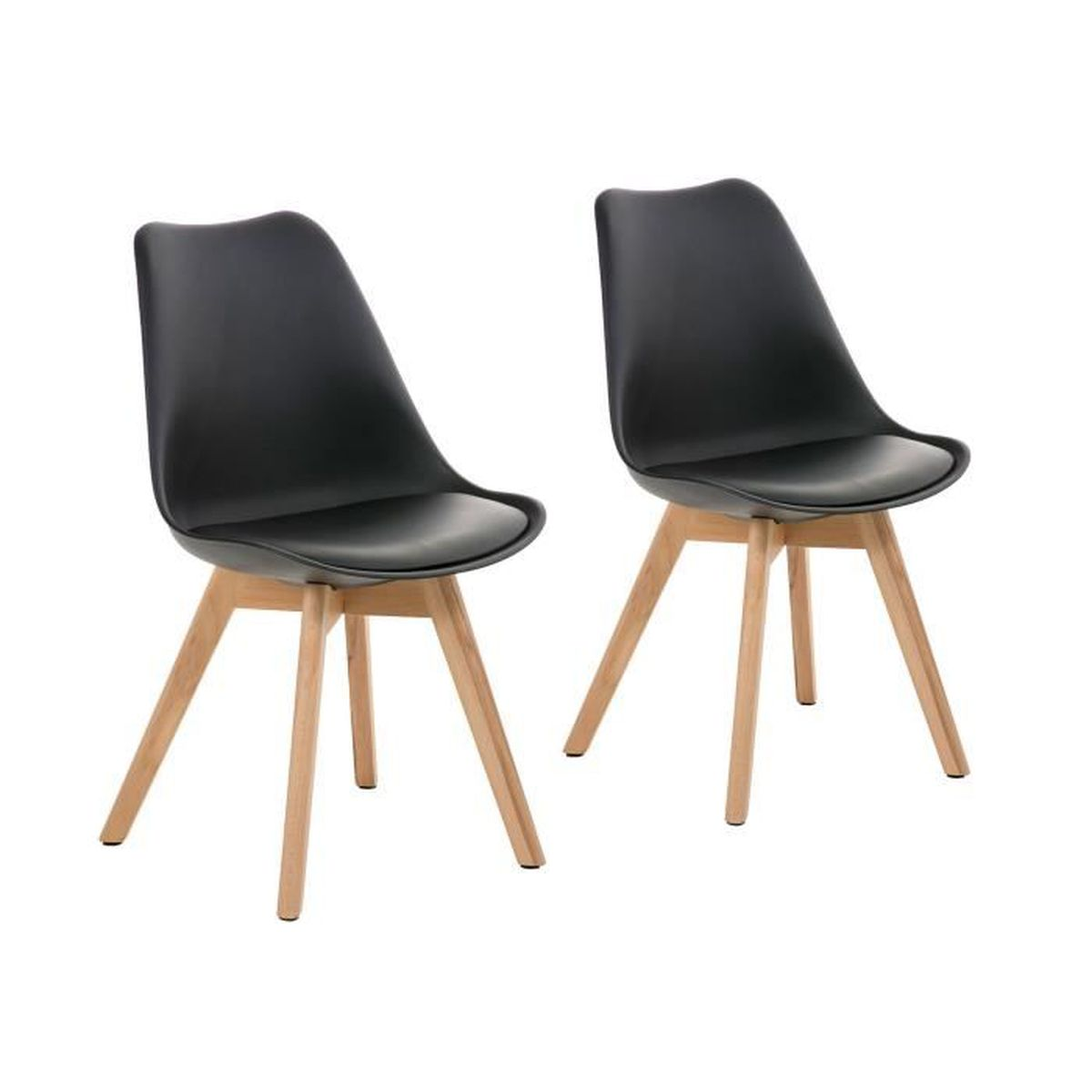 malm lot de 2 chaises design scandinave noir pu achat vente chaise cdiscount. Black Bedroom Furniture Sets. Home Design Ideas