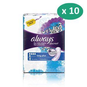 FUITES URINAIRES 10 paquets de Always Discreet Serviettes Long Plus