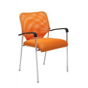 CHAISE DE BUREAU Chaise visiteur bureau orange pieds chromé avec ac