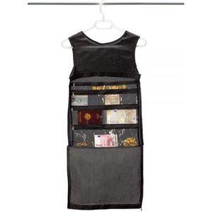 BOITE A BIJOUX T shirt cachette argent antivol voyage - 10 poches