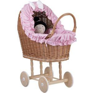 LANDAU - POUSSETTE Poussette pour poupée , Landau avec tissu rose et