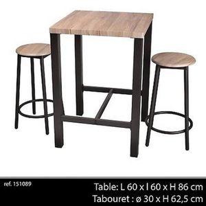 TABLE DE CUISINE  TABLE DE BAR APPOINT + 2 CHAISE TABOURET INDUSTRIE