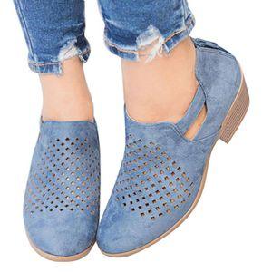 Talon Chaussures Bottes Chic Bottes Talon Femme Loafer Bloc Basse Plates Minetom Creux Cheville Bottine jA5Lc3q4R