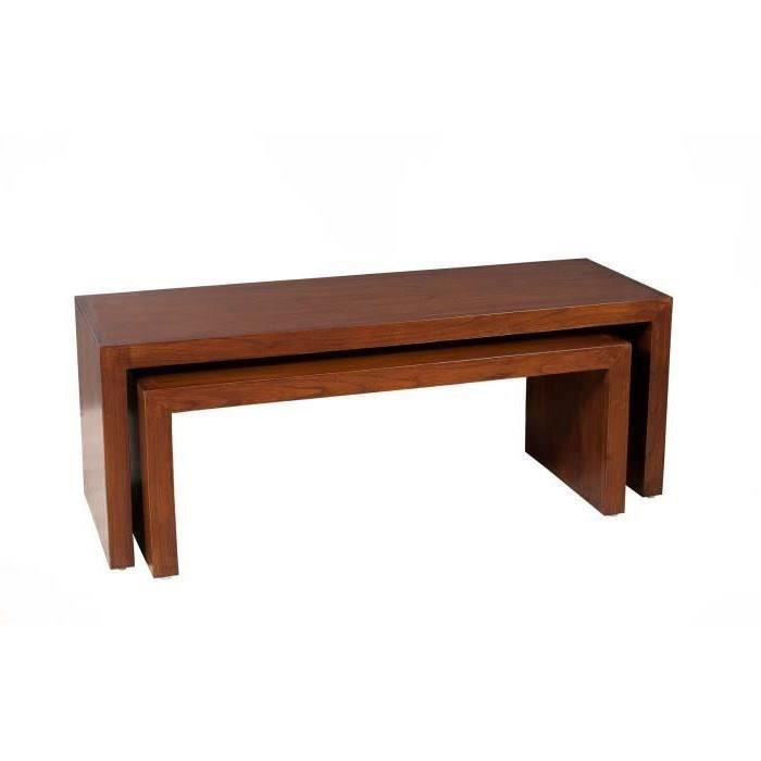 MADRID Table basse gigogne style contemporain en mindi et contreplaqué - L 120 x 40 cm