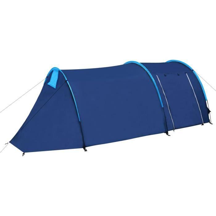 LHE Tente de camping pour 4 personnes Bleu marine/jaune 1