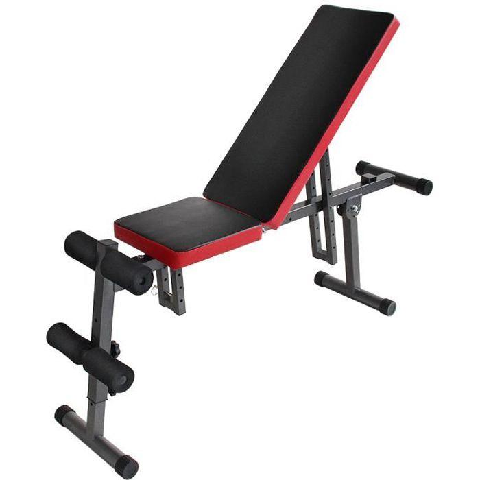 PROFESSIONNEL BANC DE MUSCULATION FITNESS PLIABLE REGLABLE EN DOSSIER ET SIEGE,SIT-UP,EXERCISES D'HALTERE,TRACTION,FLEXTIONET EXTEN