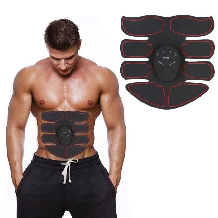 XIXI Machine Abdo Équipement de Fitness Intelligent Training Patch (1 Abdomen + 1 Main) (Noir + Rouge)