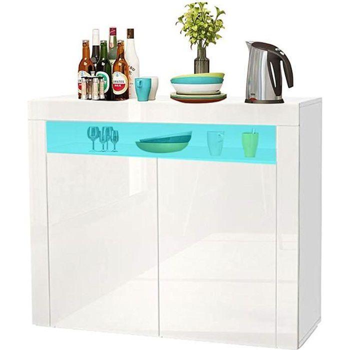 Buffet bas LED contemporain blanc laqué brillant - L 108 cm