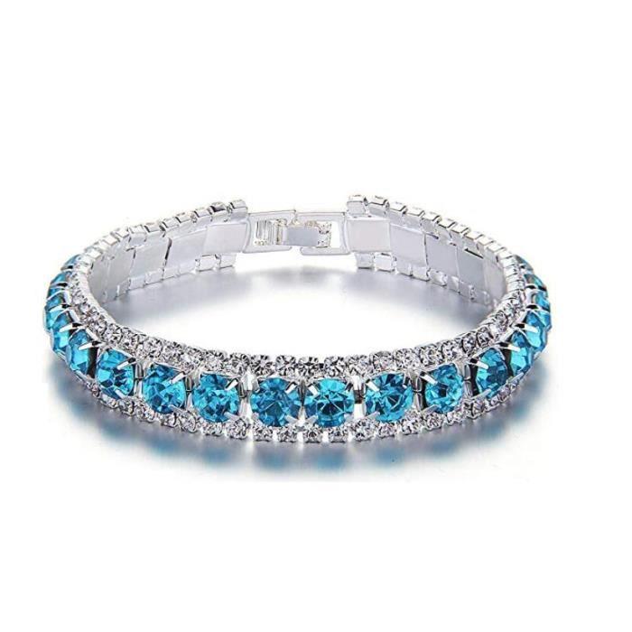 """Bracelet Femme/Fille""""Rond""""-Plaqué platine Cubique Zircon CZ Avec SWAROVSKI Elément-Parfait Bijoux de Mariage,Soirée,Anniversaire"""