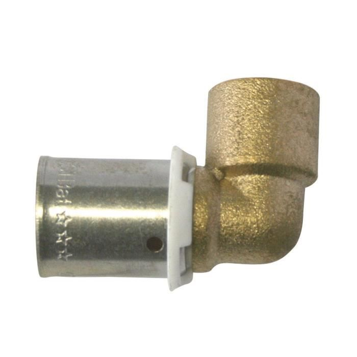 SOMATHERM Raccord à sertir PER coude à souder tube cuivre Ø 12 - Ø tube cuivre 14