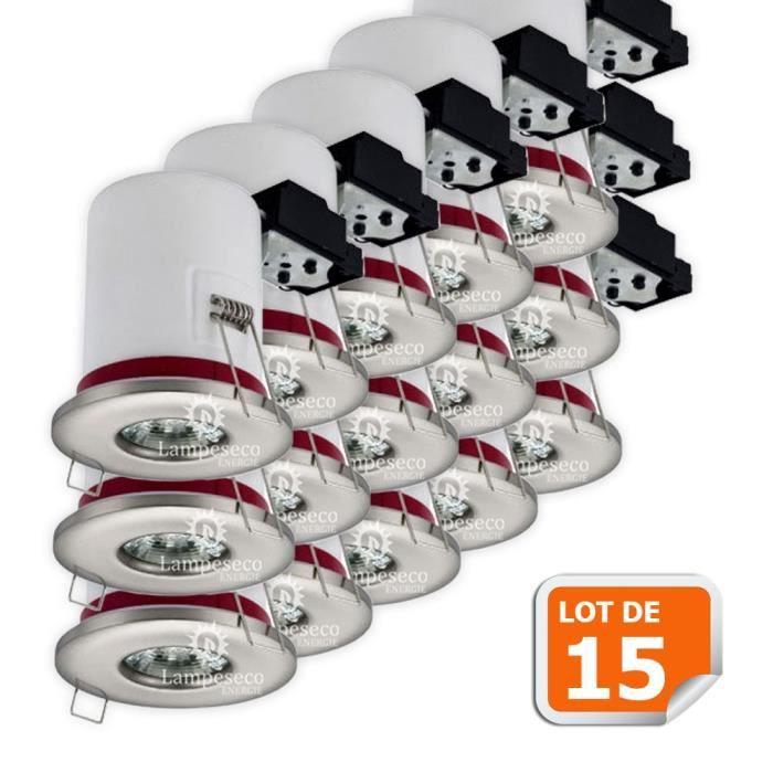 Lot de 15 Support de spot BBC Etanche IP65 Inox 87mm avec douille GU10 automatique ref. 830