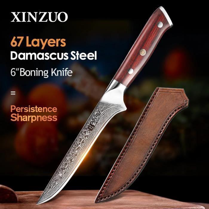 Couteau à Désosser en Damas Japonais - Couteau de Chef - Lame Damassée