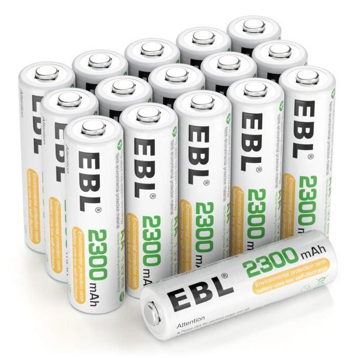 Piles, chargeurs & testeurs EBL 16pcs Piles Rechargeables AA NI-MH 2300mAh, Piles R6 Rechargeables Longue Durée avec Boî 54374