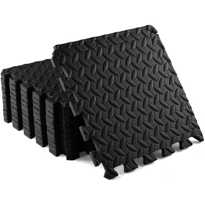 Tapis de Sol de Gym Sport avec 12 Dalles de Protection en Mousse 30x30x1.2cm Noir