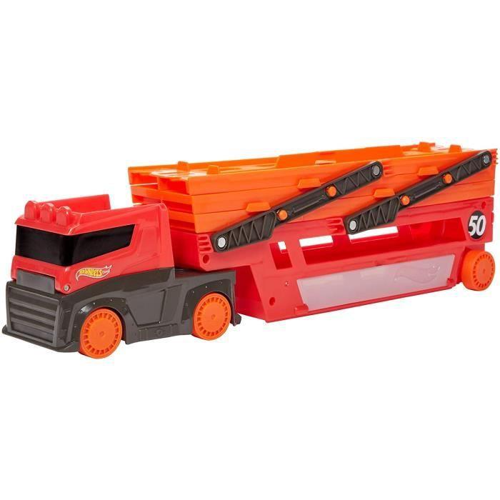 VEHICULE MINIATURE ASSEMBLE ENGIN TERRESTRE MINIATURE ASSEMBLE Hot Wheels M&eacutega Transporteur, camion pour transporter ju121