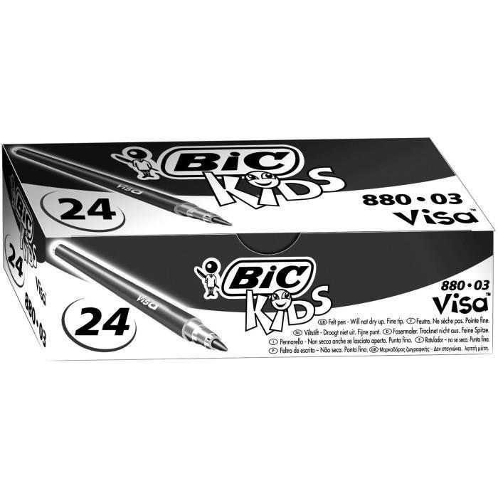 BIC Kids Visa Feutres de Coloriage à Pointe Fine - Noir, Boîte de 24