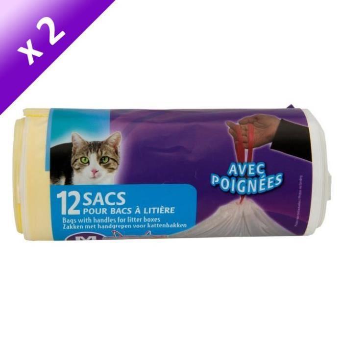 Lot de 2 - Rouleau de sacs pour bac à litière de 42x30 cm - Pour chat
