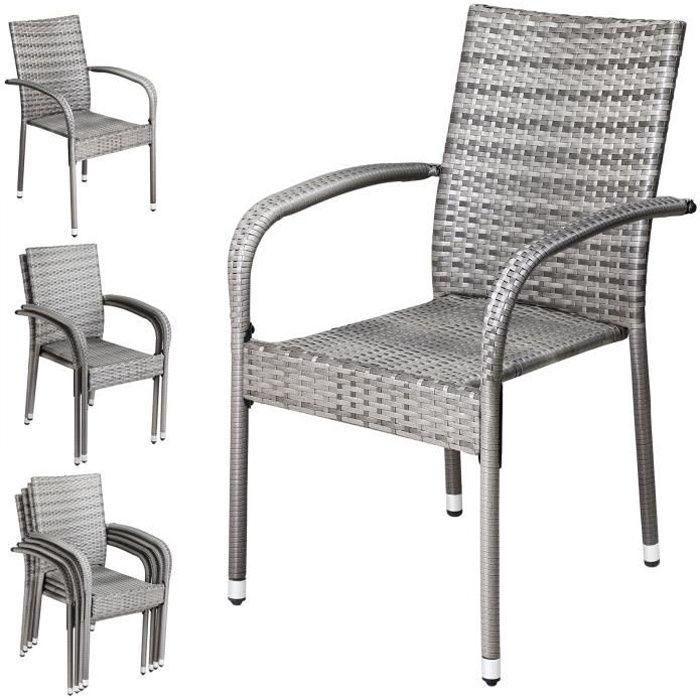 Set de 4 chaises de jardin Casaria en Polyrotin Accoudoirs arrondis Empilables Résistant aux intempéries