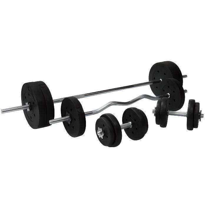 Gorilla Sports - Set d'haltères complet avec disques revêtement plastique + barres 97,5 Kg