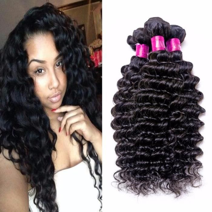 HUIXIN-3 tissage cheveux naturel Indien curly humain hair indian deep curly 100g-pc 22-24-26-POUCES