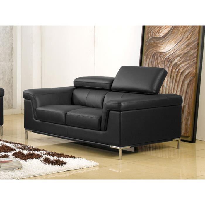Canapé 2 places en cuir noir RANIA