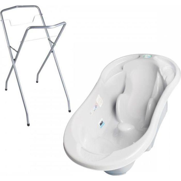 Baignoire bébé avec réducteur intégré Gris + Pied + Tuyau + Pied + uyau