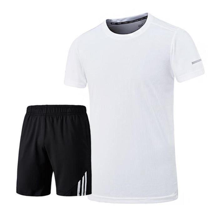 Ensemble de Sport T-shirt et Short Homme Tee Shirt Manches Courtes Vêtement Séchage Rapide